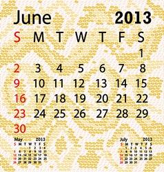 June 2013 calendar albino snake skin vector