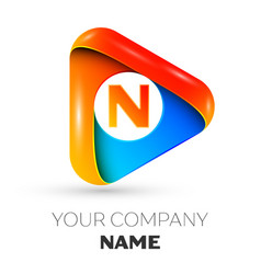 Letter n symbol in the colorful triangle vector
