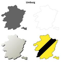 Limburg outline map set - Flemish version vector