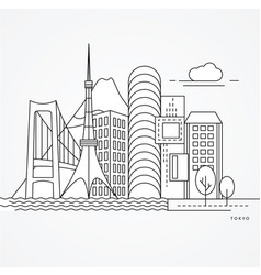 linear of tokyo japan flat one line vector image