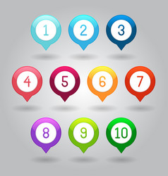 map markers with numbers eps10 vector image