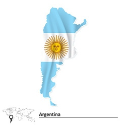 Map of argentina with flag vector