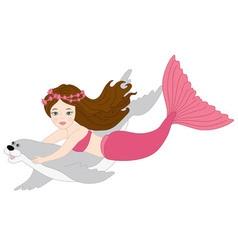Mermaid and seal vector