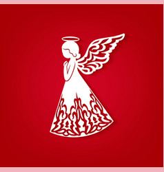 Merry christmas card with angel ornamental wings vector