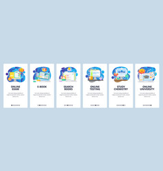 Mobile app onboarding screens online education vector