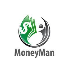 money man circle with human character logo vector image