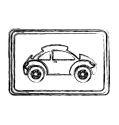 Monochrome sketch with sports car in square frame vector
