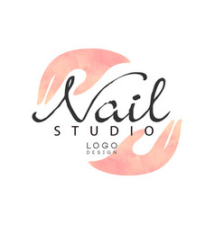 nail studio logo design element for nail bar vector image