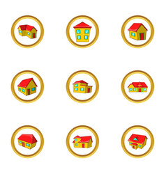 New model house icon set cartoon style vector