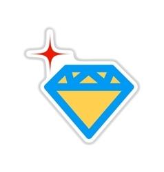 Paper sticker on white background diamond crystal vector