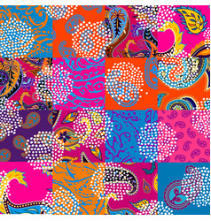 Patchwork pattern with paisley ornament patterns vector