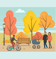 People walking in autumn park with kid or bike vector