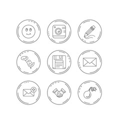 Photo camera pencil and handshake icons vector
