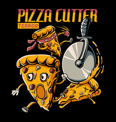 pizza cutter terror vector image