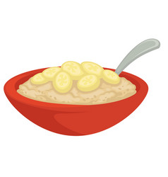 Porridge with banana cereal in bowl with spoon vector