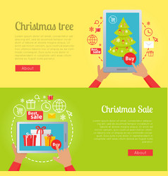 Poster of pictures with christmas tree and sale vector