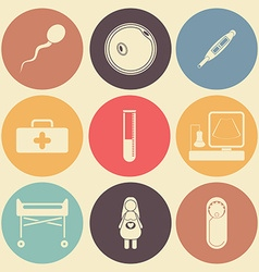 Pregnantcy flat icon set in color circles vector