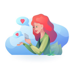 red haired girl talking on phone in modern vector image