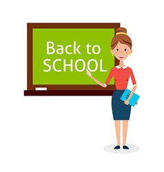 School Woman Teacher with Chalkboard vector image