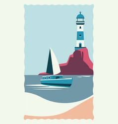 Sea scape flat scene with lighthouse and sailboat vector