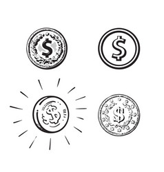 set coins with dollar sign in different styles vector image