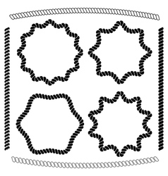 Set of frames hexagonal and rounded imitating rope vector