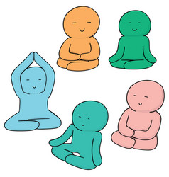 Set of meditation vector
