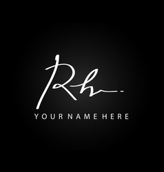 signature logo r and h rh initial letter elegant vector image