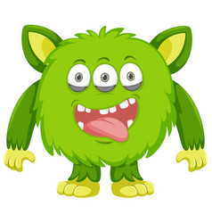 Silly green monster white background vector