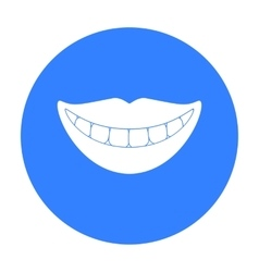 Smile with white teeth icon in black style vector image
