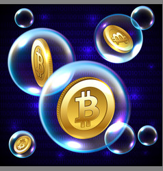 soap bubble with bitcoin vector image