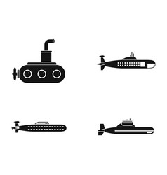 submarine icon set simple style vector image