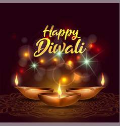 three burning diya on happy diwali holiday on dark vector image