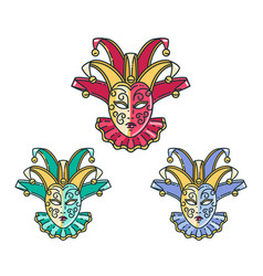 Traditional venetian mask set vector