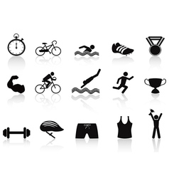 Triathlon sport icon set vector