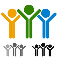 tricolor human icon stick figures with hands up vector image