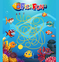 Underwater fish maxe game template vector