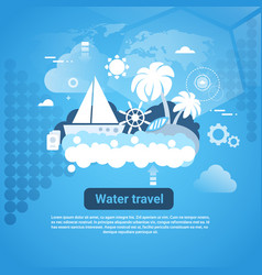 water travel web banner with copy space on blue vector image