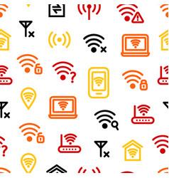 Wifi wreless thin line seamless pattern background vector