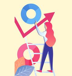 Woman analysing corporate data vector