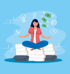 Woman in lotus position with stress character vector