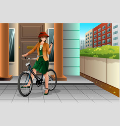 woman riding a bike and looking at her phone vector image