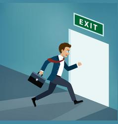 businessman runs to exit door vector image vector image