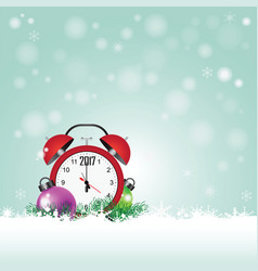 christmas card with red clock with date 2017 vector image vector image