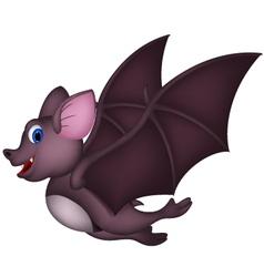 Cute Cartoon bat flying vector image