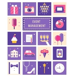 Event Management Party and Celebation Flat Icons vector image