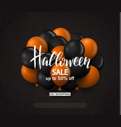 Halloween sale background with balloons modern vector