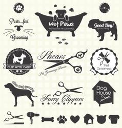 Pet Grooming Labels vector image vector image