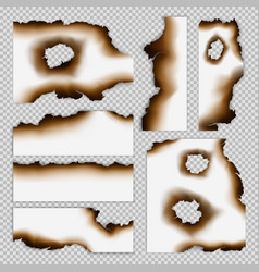 realistic scorched pieces of paper set vector image