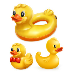 Rubber ducks 3d icon set vector